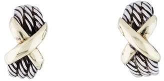 David Yurman Two-Tone Cable X Earrings