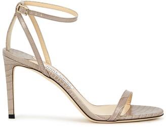 Jimmy Choo Minny 85 crocodile-effect leather sandals
