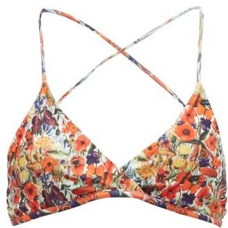 Muzungu Sisters - Willow Poppy-print Bikini Top - Womens - Orange Multi