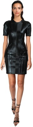 Thierry Mugler Embossed Shiny Jersey Mini Dress