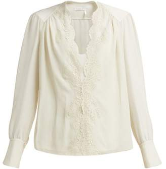 Chloé Lace-trimmed Silk-georgette Blouse - Womens - Light Grey