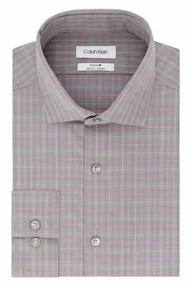 Calvin Klein Men's Dress Shirt Non Iron Stretch Slim Fit Spread Collar Check