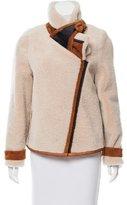 Bouchra Jarrar Leather-Trimmed Shearling Coat