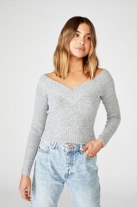 Supre Cassandra V Neck Off Shoulder Knit
