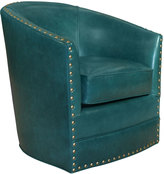 Horchow Bryn St. Clair Peacock Blue Leather Swivel Chair