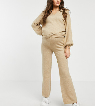 ASOS DESIGN Maternity co-ord knitted wide leg trouser in oatmeal