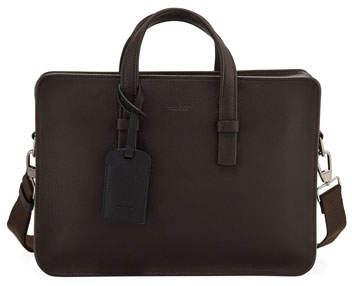 Giorgio Armani Men's Tumbled Calf Leather Briefcase, Brown