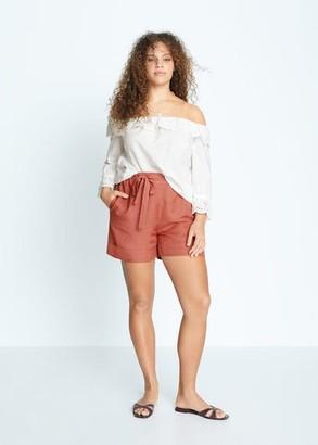 MANGO Violeta BY Linen shorts burnt orange - S - Plus sizes
