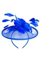 Quiz Blue Feather Flower Fascinator