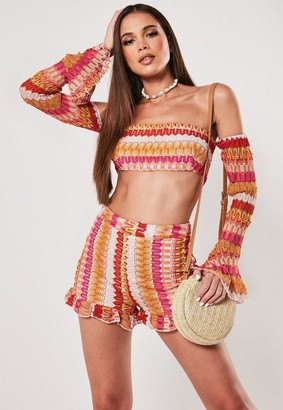 Missguided Red Co Ord Crochet Flare Sleeve Crop Top
