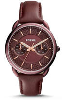 Fossil Tailor Multifunction Wine Leather Watch