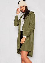 Missy Empire Penny Green Button Up Rain Coat