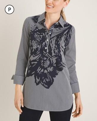 No Iron Petite Cotton-Blend Floral Striped Tunic