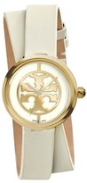 Tory Burch Women's 'Reva' Logo Dial Double Wrap Leather Strap Watch, 28Mm