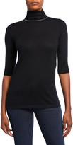 Neiman Marcus Elbow-Sleeve Chain Trim Turtleneck Cashmere Sweater