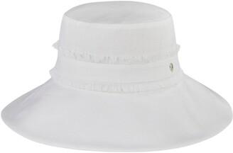 Helen Kaminski Vella Fray Trim Wide Brim Linen Hat