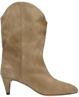 Isabel Marant Dernee High Heels Ankle Boots In Taupe Suede