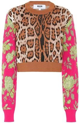 MSGM Leopard-print wool-blend sweater