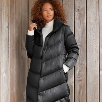 The White Company Long Down-Filled Funnel-Neck Puffa Coat, Black, 6