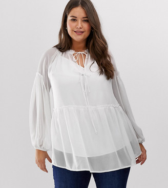 ASOS DESIGN Curve sheer smock top with tie front