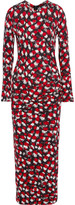 Just Cavalli Gathered printed georgette maxi dress