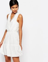 Vero Moda Lace Trim V-Neck Lace Skater Dress