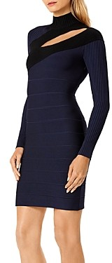Herve Leger Bandage Mockneck Dress