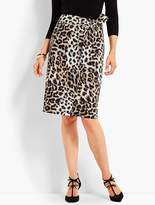 Talbots Animal-Print Faux-Wrap Skirt