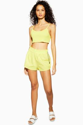 Topshop Womens Neon Yellow Shirred Toggle Top And Shorts Set - Fluro Yellow