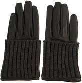 Topshop Leather Knit Rib Cuff Gloves