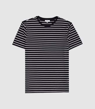 Reiss Holborn - Striped Crew Neck T-shirt in White/navy
