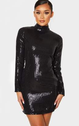 PrettyLittleThing Gold Sequin Long Sleeve High Neck Bodycon Dress