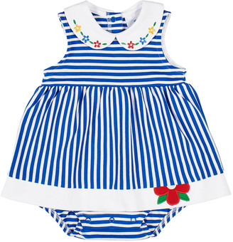 Florence Eiseman Striped Knit Romper w/ Flowers, Size 3-24 Months