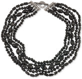 Carolee Hematite-Tone Jet Stone Multi-Layer Collar Necklace
