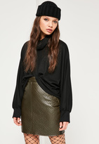 Missguided Khaki Faux Leather Quilted Mini Skirt