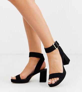 Asos Design DESIGN Wide Fit Hopscotch platform heeled sandals in black