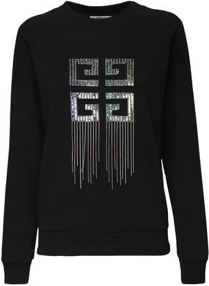 Givenchy Logo Cotton Jersey Sweatshirt W/ Fringe