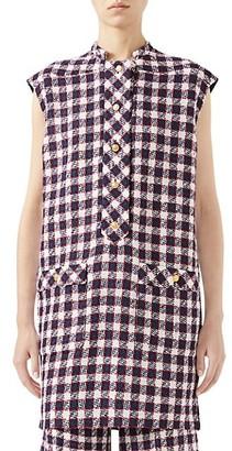 Gucci Tweed Plaid Sleeveless Wool-Blend Tunic Top