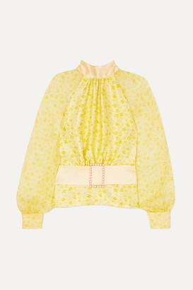 Harmur HARMUR - Open-back Floral-print Silk-satin And Crepon Blouse - Pastel yellow