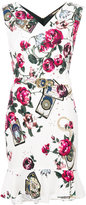 Roberto Cavalli roses print belted dress - women - Polyester/Spandex/Elastane/Viscose - 42
