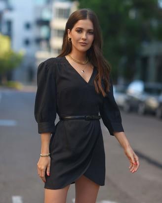 The Drop Women's Black Tulip Hem Faux Wrap Mini Dress by @paolaalberdi M
