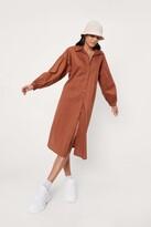 Thumbnail for your product : Nasty Gal Womens Puff Sleeve Cotton Poplin Midi Shirt Dress - Orange - 4
