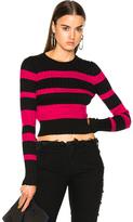 Proenza Schouler Ultrafine Striped Rib Long Sleeve Crewneck Sweater in Black,Pink,Stripes.