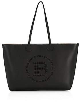 Balmain Women's Medium Logo Leather Tote