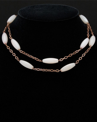 14K Italian Rose Gold Pink Agate Necklace