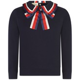 Gucci GUCCINavy Sweatshirt With Collar & Bow