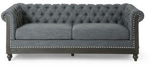 """Christopher Knight Home Castalia Chesterfield Tufted 3 Seater Sofa with Nailhead Trim by 78.75"""" L x 33.50"""" W x 28.00"""" H"""