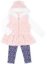 Little Lass Light Coral & White Faux Fur Vest Set - Infant & Toddler