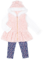 Little Lass Light Coral & White Faux Fur Vest Set - Infant
