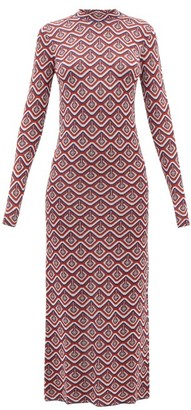 Paco Rabanne Metallic Geometric Jacquard Midi Dress - Red Multi
